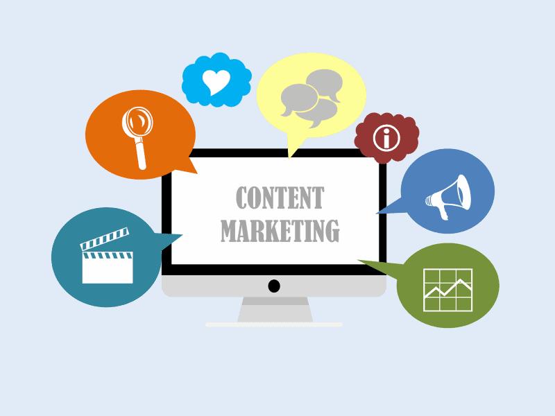 """איור מסך מחשב ובו טקסט """"Content Marketing"""" סביבו 7 אייקונים מתחום ה- SEO"""